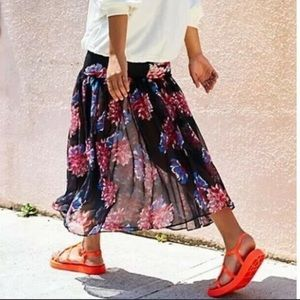 Free People Sheer Ankle Black Floral Maxi Skirt